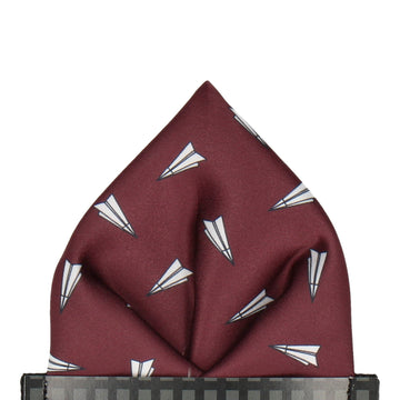Paper Airplanes Maroon Red Pocket Square