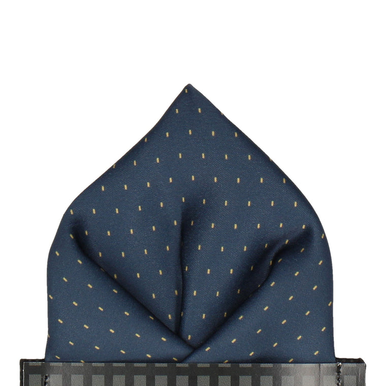Navy Blue Yellow Fleck Pocket Square