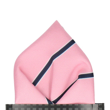 Pink Regimental Stripe Pocket Square
