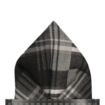 Brushed Cotton Grey Plaid Pocket Square