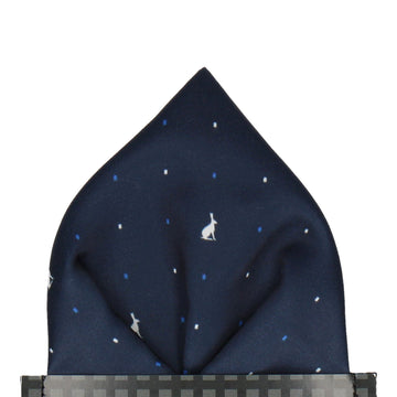 Leveret Hare Trendy Blue Pocket Square