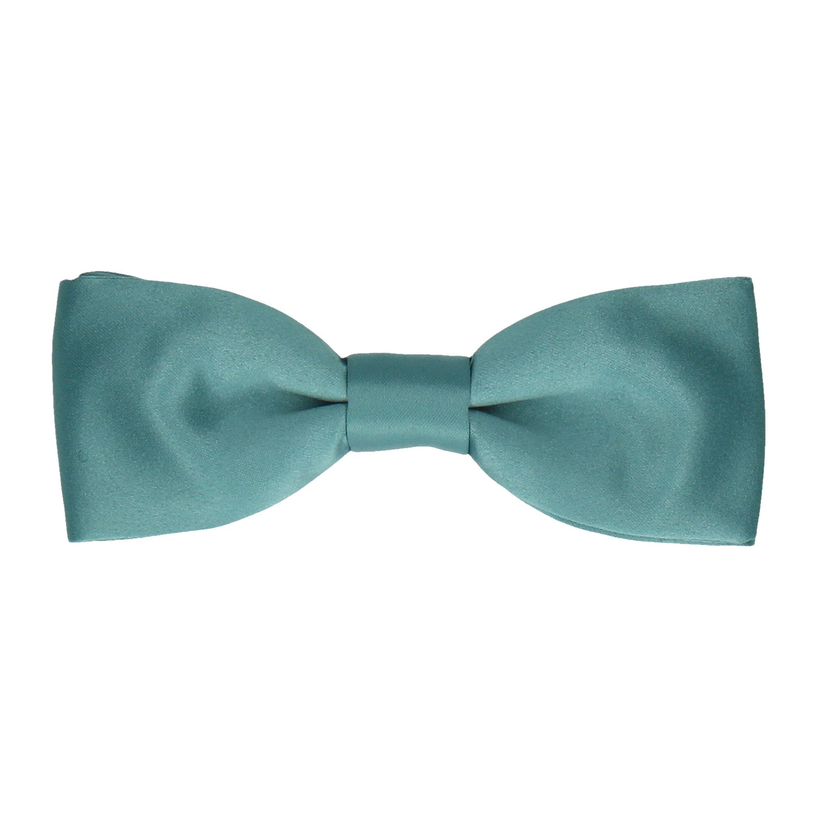 Sea Green Plain Solid Satin Bow Tie
