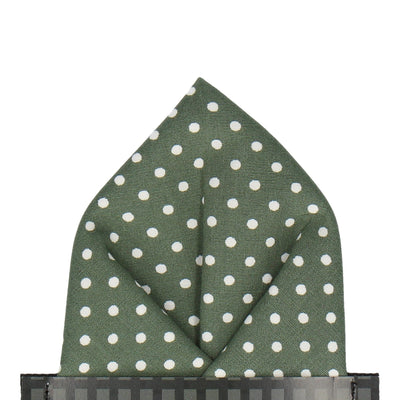 Fennel Green Polka Dots Pocket Square