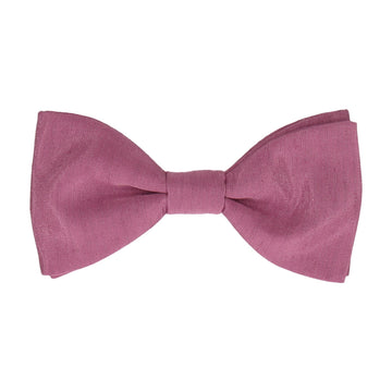 Deep Rose Pink Faux Silk Bow Tie