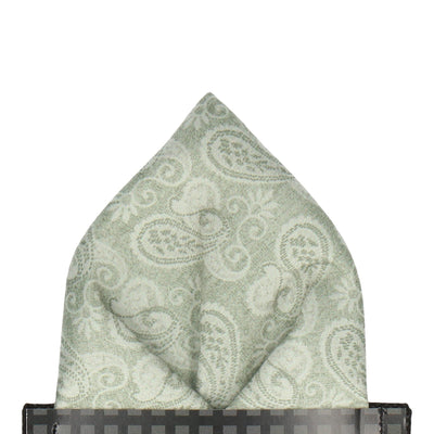 Sage Green Vintage Paisley Pocket Square