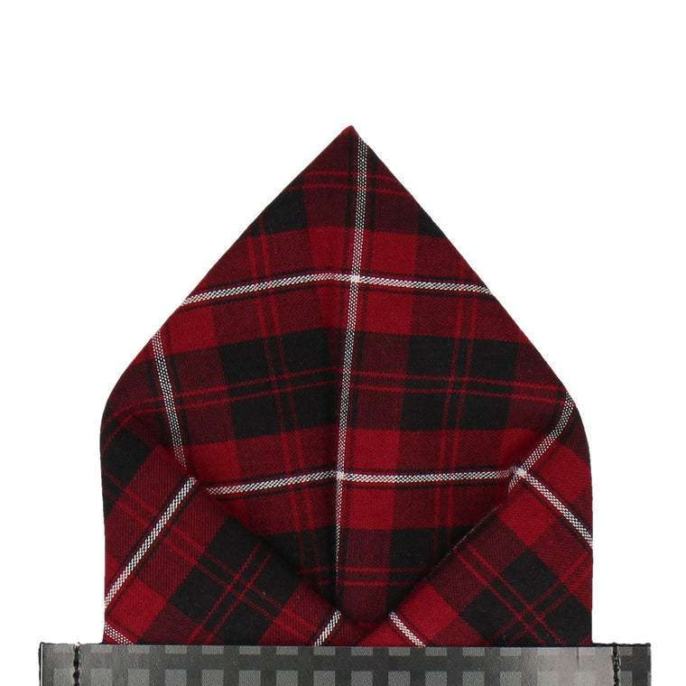 Red 'Cameron of Lockeil' Tartan Pocket Square