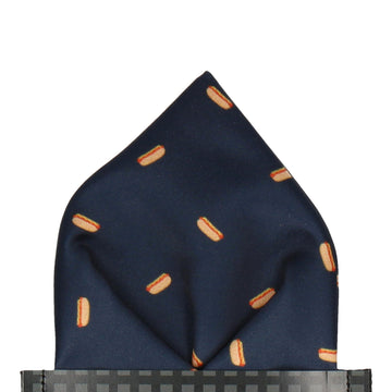 Navy Blue Hot Dogs Pocket Square