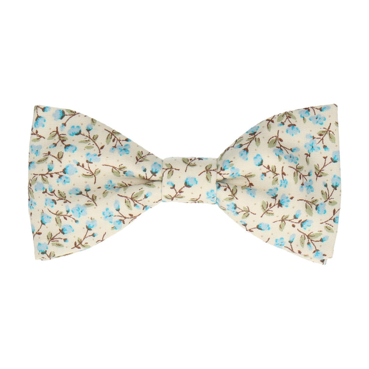 Light Blue & Off White Ditsy Floral Bow Tie