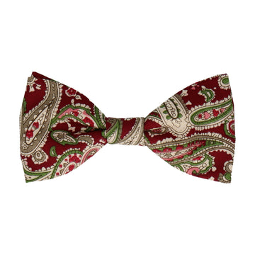 Ruby Red Traditional Paisley Cotton Bow Tie