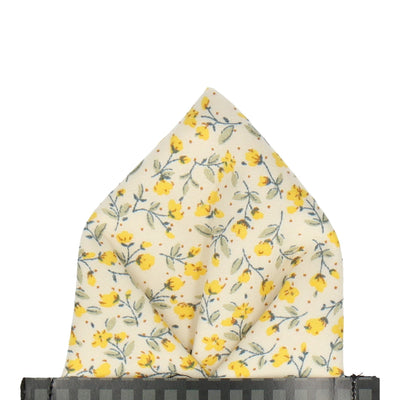 Vintage White & Yellow Ditsy Floral Pocket Square
