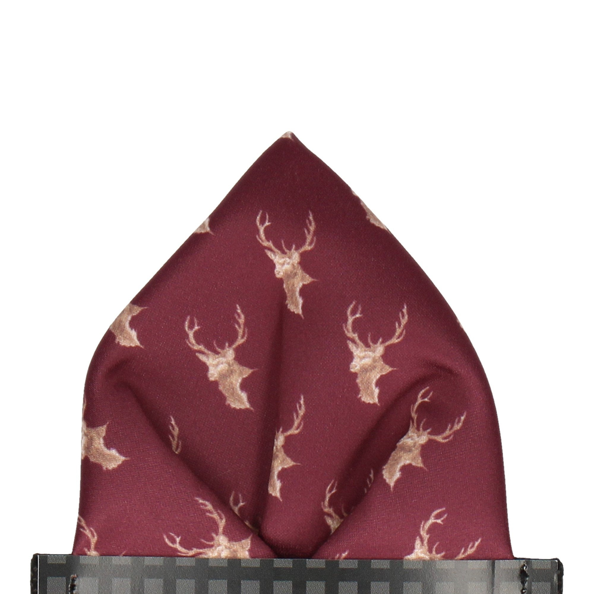 Stags in Burgundy Pocket Square