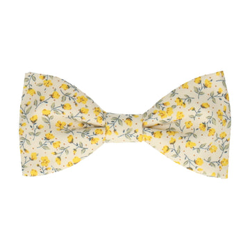 Vintage White & Yellow Ditsy Floral Bow Tie