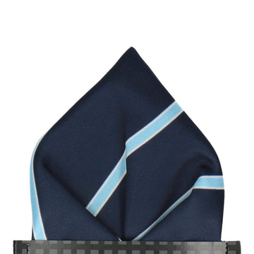Doxford in Navy & Sky Blue Pocket Square