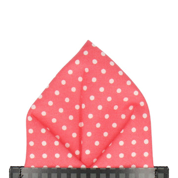 Coral Polka Dots Pocket Square
