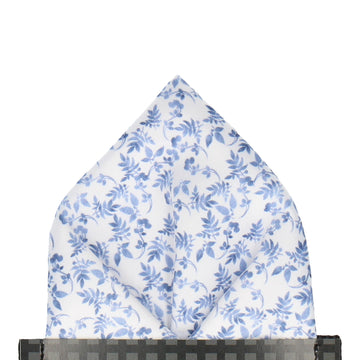 Gentle Blue Floral White Pocket Square