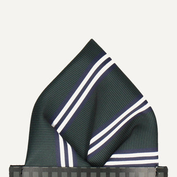 Bravo in Green & Navy Blue Pocket Square (Outlet)