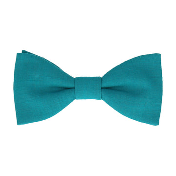 Turquoise Plain Textured Cotton Bow Tie