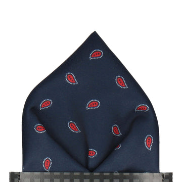 Navy & Red Minimalist Paisley Pocket Square