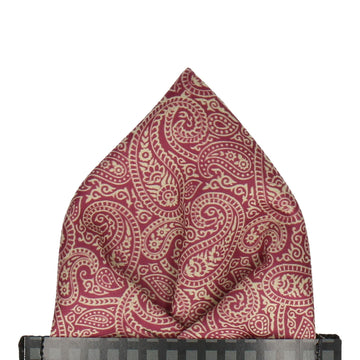 Red & Gold Paisley Print Pocket Square