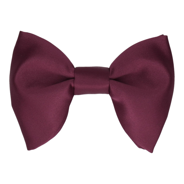 Burgundy Wine Red Plain Solid Satin Large Evening Bow Tie