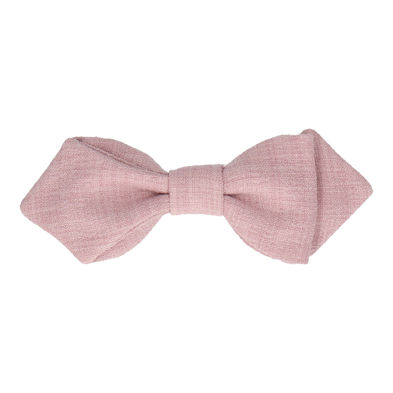 Pale Pink Textured Cotton Linen Bow Tie