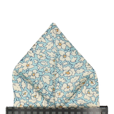 Blue Floral Feather Fields Liberty Cotton Pocket Square