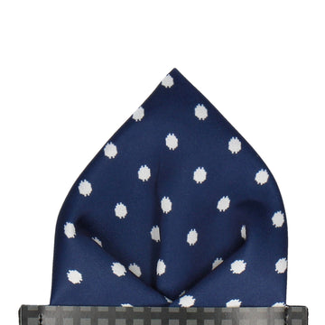 Navy Blue & White Glitch Polka Dot Pocket Square