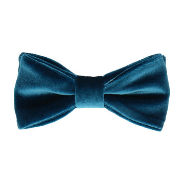 Peacock Blue Velvet Bow Tie