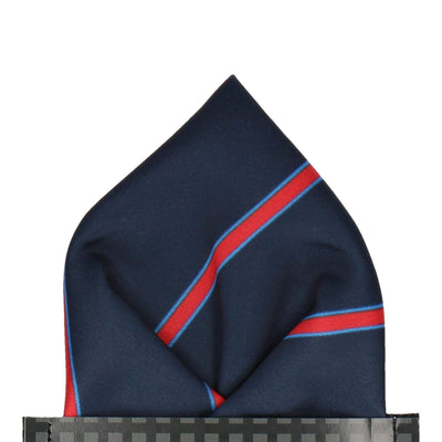 Navy & Red Regimental Stripe Pocket Square