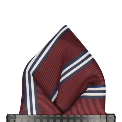 Burgundy & Navy Double Stripe Pocket Square