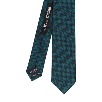 Jacquard Diamond Teal Blue Tie