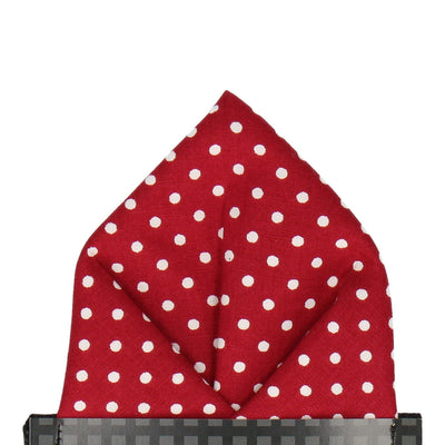 Cranberry Red Polka Dots Pocket Square