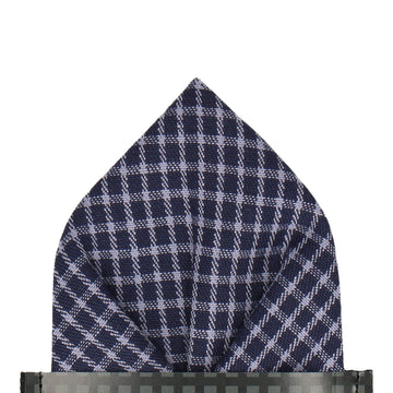 Navy Blue Fine Check Pocket Square