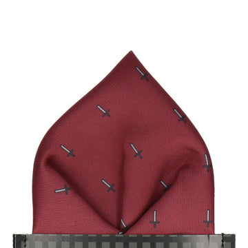 Pixel Sword Burgundy Red Pocket Square