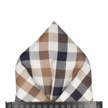 Mink Brown & Navy Plaid Check Pocket Square