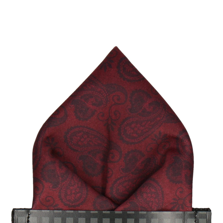 Dark Burgundy Red Paisley Satin Pocket Square