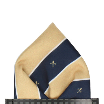 Striped Fleur de Lis Soft Gold Pocket Square