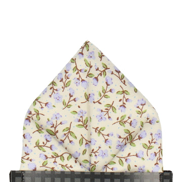 Lilac & Off White Ditsy Floral Pocket Square