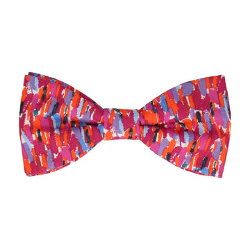 Red Pink Meadow Rain Liberty Cotton Bow Tie