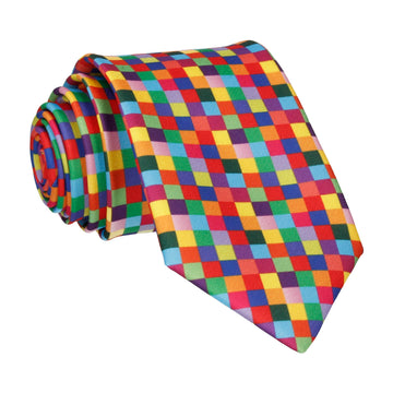 Bright Pixel Block Pattern Multi Tie