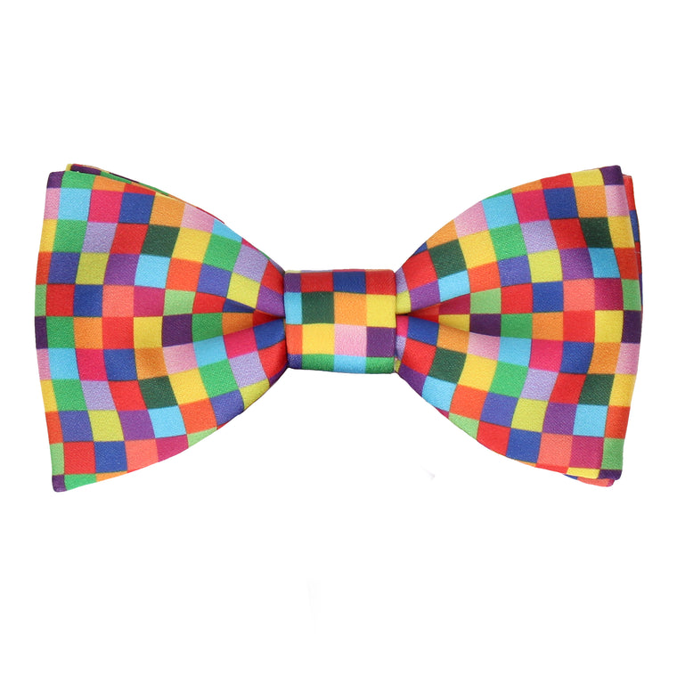 Bright Pixel Block Pattern Bow Tie