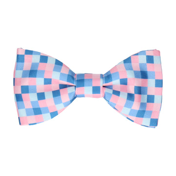 Blue & Pink Pixel Block Pattern Bow Tie