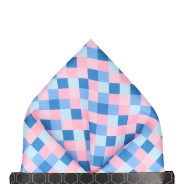 Blue & Pink Pixel Block Pattern Pocket Square