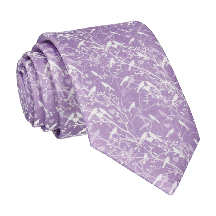 Lavender Love Birds Wedding Tie