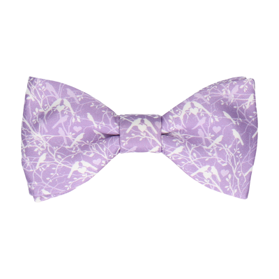 Lavender Love Birds Wedding Bow Tie