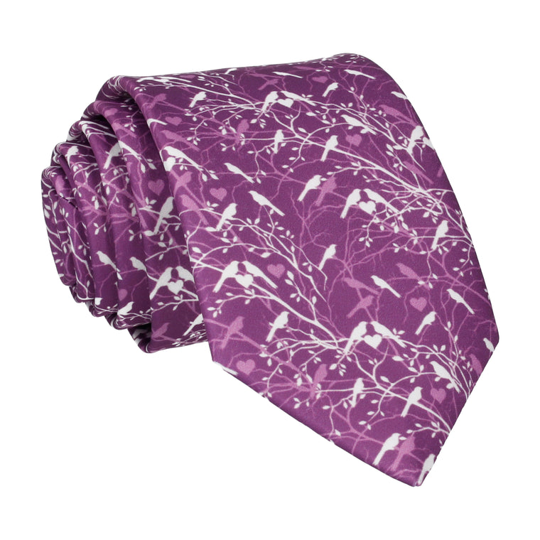 Plum Purple Love Birds Wedding Tie