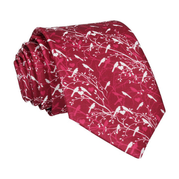 Bordeaux Red Love Birds Wedding Tie