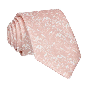 Pink Champagne Love Birds Wedding Tie