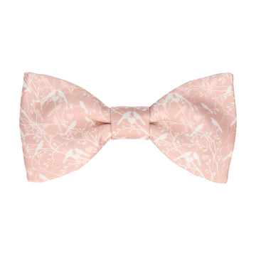 Pink Champagne Love Birds Wedding Bow Tie