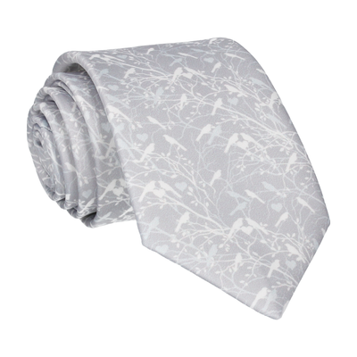 Platinum Grey Love Birds Wedding Tie
